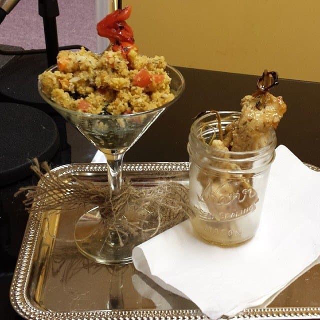 Collard Martini & Apricot Chicken Skewers