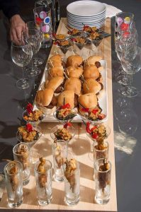 APRICOT GLAZED CHICKEN SKEWERS, THE COLLARD GREEN MARTINI, HONEY-WHISKEY MEATBALL SKEWERS