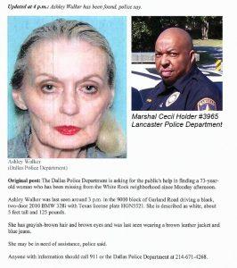 Silver Alert Dispatched - Officer Cecil Holder Received