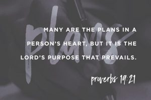 Proverbs 19:21 Many are the plans in a man's heart, but it is the LORD's purpose that prevails.